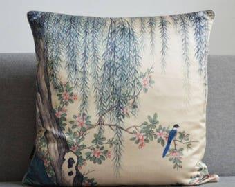 Decorative Satin sofa pillow / Red flower bird sofa pillow