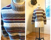 1990 39 s Striped Turtleneck Cropped Wool Sweater Loose Fit Grey Cream Navy Burgundy Vintage Ribbed Knit Boho Hipster Grunge Medium