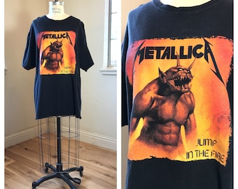 ca2011da 1990's RARE Metallica Jump In The Fire Shirt | Vintage Metallica Concert  Tee | Jump in the Fire Shirt | Rare Metal Rocker T-Shirt | Mens XL