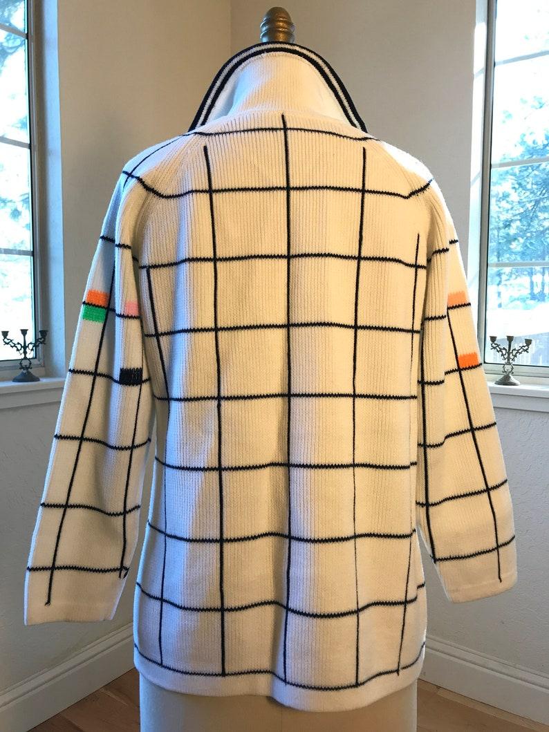 1960/'s Fun Checkered Cardigan 34 Sleeves Big Oversized Collar Super Soft Cotton Medium Boho Mod Vintage Sweater Black and White
