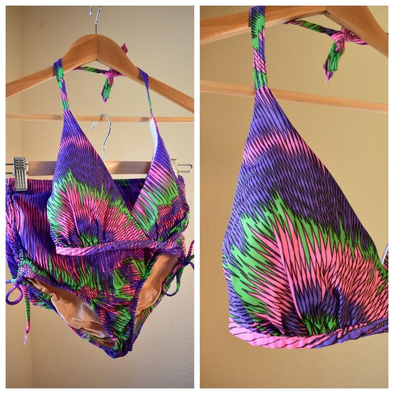 e92f42b74 Vintage 1960's High Waisted Bikini Vintage Bathing Suit | Etsy