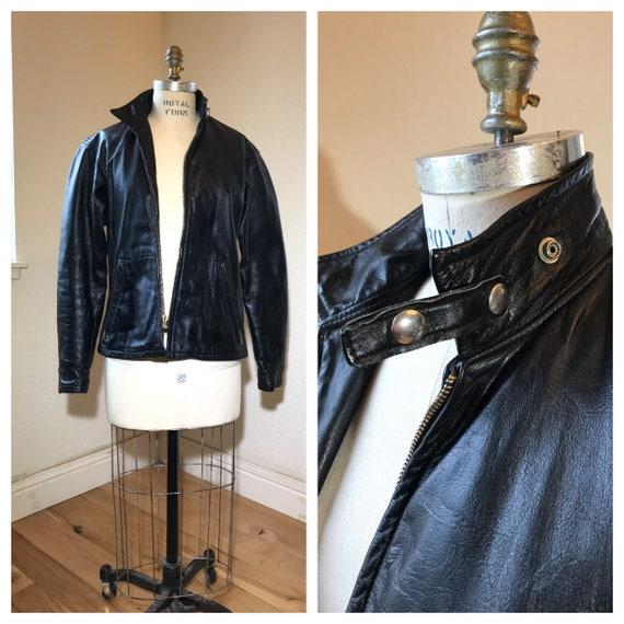 50s 60s Cafe Racer Leather Jacket | Men's Vintage