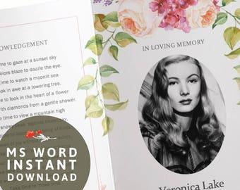 Funeral Program Template - Printable Microsoft Word - Watercolor Peach Purple Floral Bi-Fold Funeral Order of Service