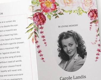 funeral program template printable microsoft word watercolor pink rose bi fold funeral order of service