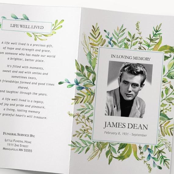 Funeral Program Template Printable Editable Microsoft Word Etsy