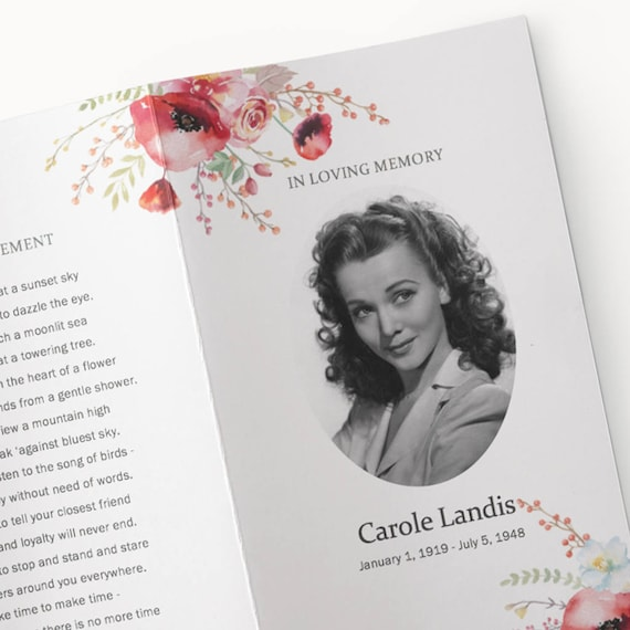 Funeral Program Template Printable Microsoft Word