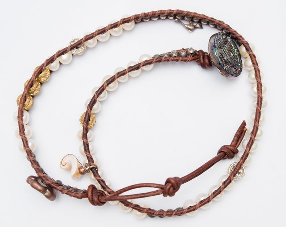Rococo - Classic Pearl Vintage Double Wrap Bracelet