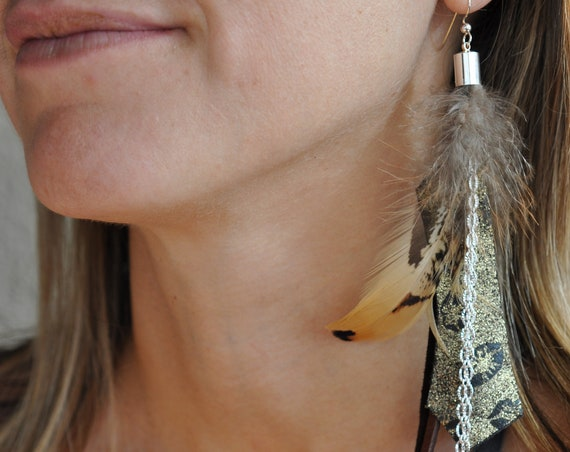 Single Long Bohemian Dangle Earring Hippie Genuine Leather Pheasant Feather Boho Earring Moroccan Gold on Black Printed Leather
