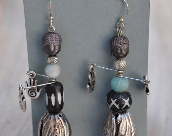 African Hula Buddha Earrings Bohemian African Modern Heavy Costume Jewelry Amazonite Silver Drop Earrings