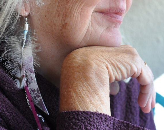 Long Single Asymmetrical Dangle Earring Genuine Leather White and Pink Sterling Silver Chicken Feather Earring