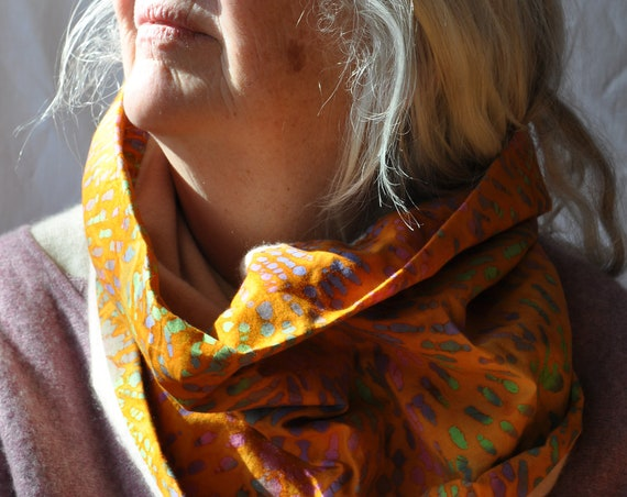 Hand-sewn Cashmere Cotton Cowl Orange Dusty Pink Green Soft Cozy Neck Warmer Big Neck Cowl Orange Colored