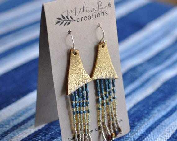 Gold Trapesal Beaded Earrings