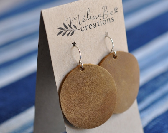 Yellow Brown Moon Earrings