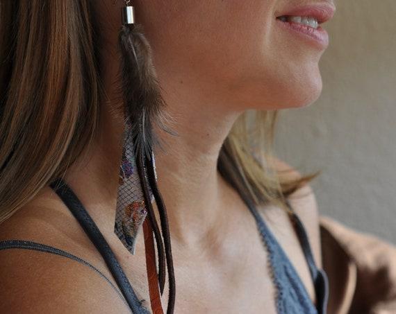 Single Earring Long Bohemian Bird Feather Dangle Genuine leather Hippie Moroccan Printed Leather Boho Brown Orange Leather Earring