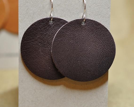 Dark Brown Light Border Moon Earrings