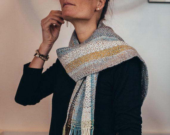 Hand Woven Scarf Blue white yellow brown Alpaca Merino Silk Wool Hand-sewn Neck Scarf Shawl Fringe
