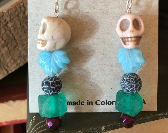 Pastel Day of the Dead Earrings - White and Blue