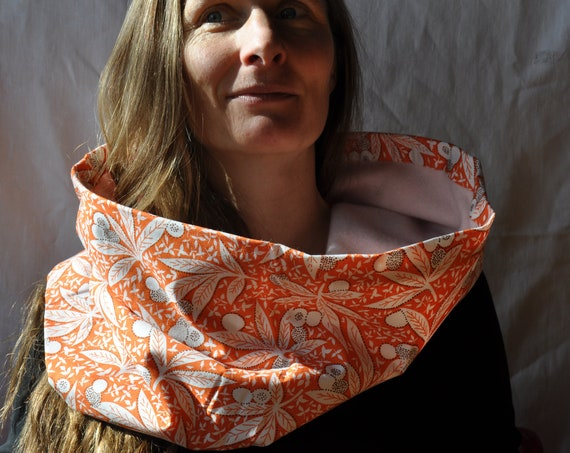 XXX Series - Hand-sewn Reversible Cashmere Cotton Cowl Pink Peach Orange White Soft Cozy Neck Warmer Big Neck Cowl Light Pink Colored