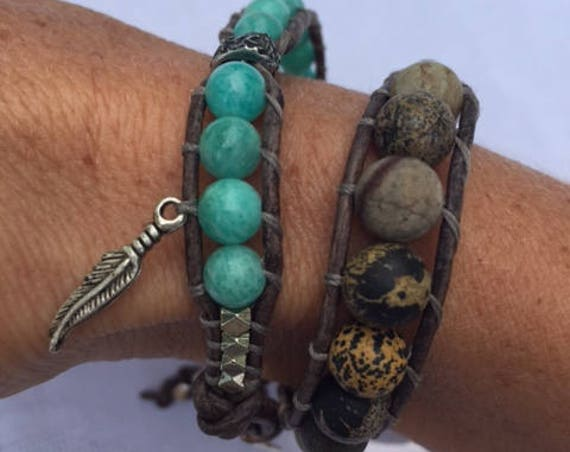 Desert Lake - Jasper and Amazonite Double Wrap Bracelet