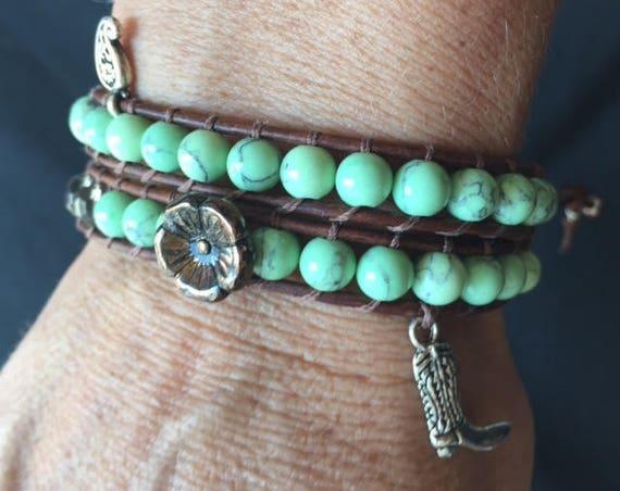 Western Asian Turquoise Bone Double Wrap Bracelet