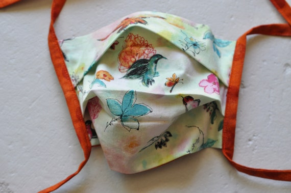 Hummingbirds and Orange Polka Dots Mask