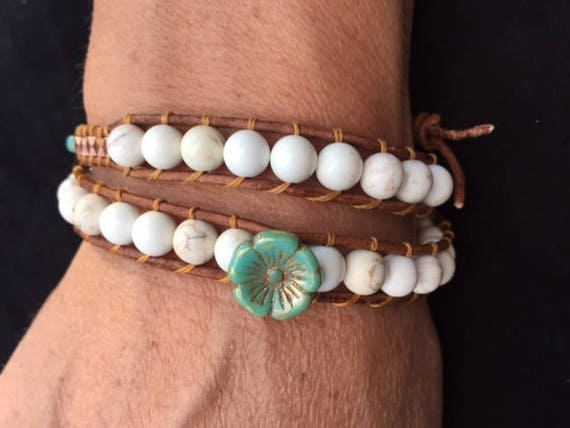 Bohemian Boho White Magnesite and Green glass Flower Copper Double Wrap Bracelet Cuff
