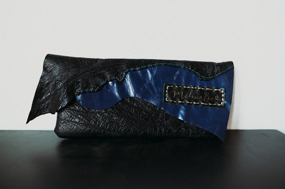 Lined Leather Clutch - Black and Blue
