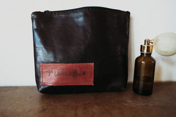 Lined Leather Pouch - Dark Brown