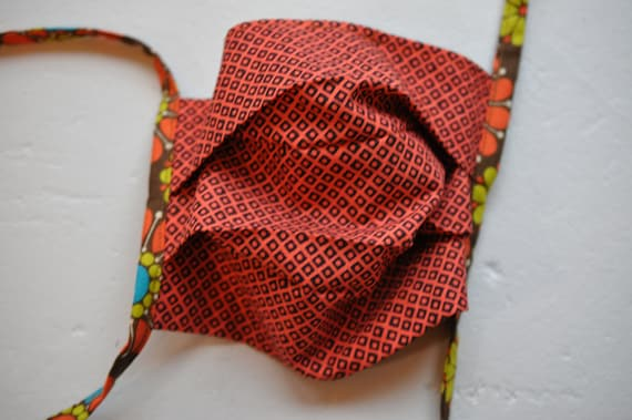 Brown and Red Squares and Hippie Flowers Mask