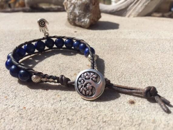 Lapis-lazuli One Wrap Silver Bracelet