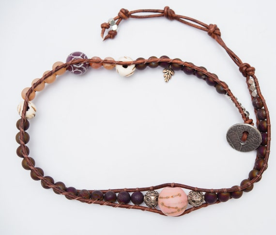 Antiquity - burgundy Druzy Double Wrap or Necklace