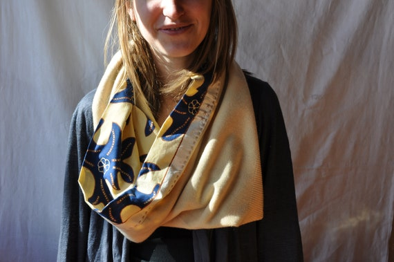 Hand-sewn Cashmere Cotton Cowl Cream Blue Light Yellow Soft Cozy Neck Warmer Big Neck Cowl Light Yellow Colored