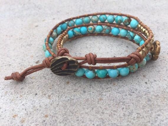 Turquoise-dyed Howlite Double Wrap Bracelet