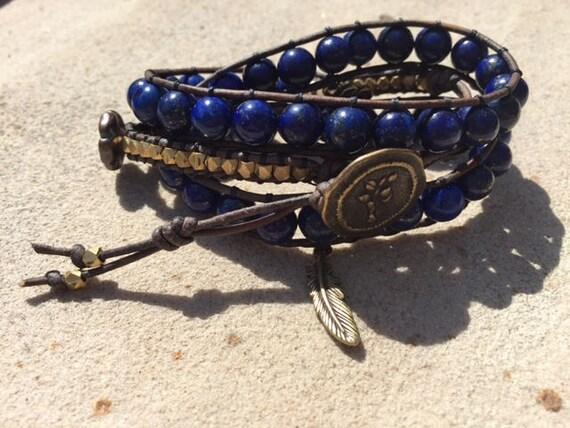 Lapis-lazuli Triple Wrap Bracelet