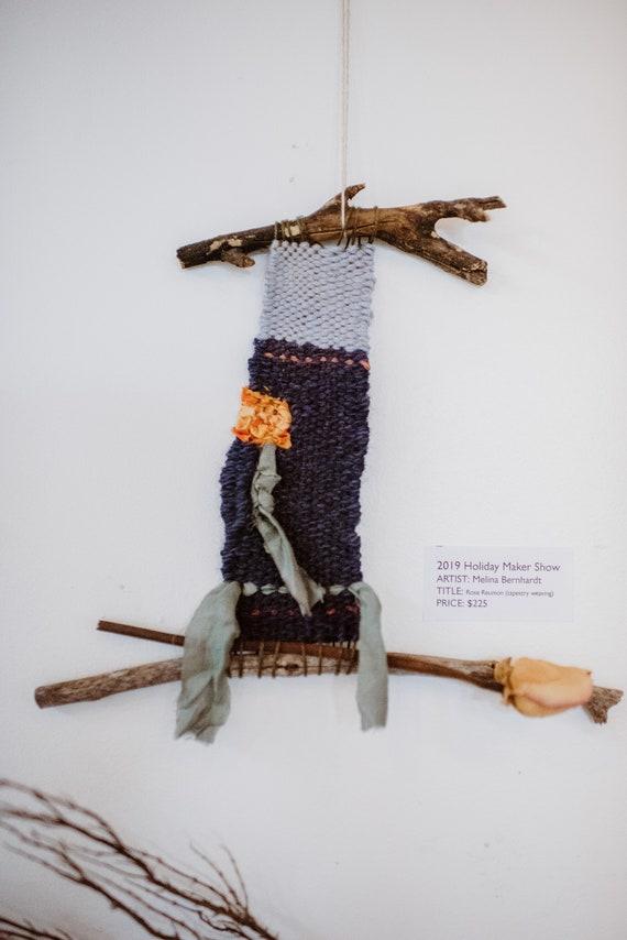 Tapestry Weaving Home decor Rose Ribbon Silk and Cotton ribbons wood cotton yarn Original Wall art