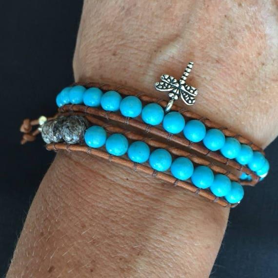 Turquoise Dragonfly Double Wrap Wood Jasper Bracelet