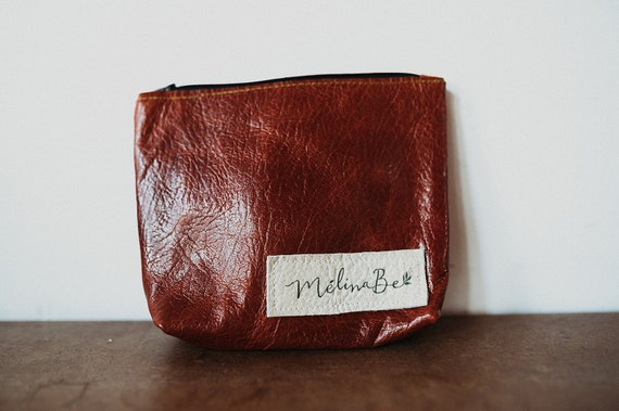 Lined Leather Pouch - Chestnut color
