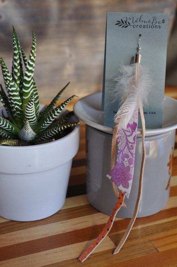 Single Long Dangle Bohemian Earring Pink and Orange Genuine Leather Hippie Earring Asymmetrical Boho Feather Dangle Earring