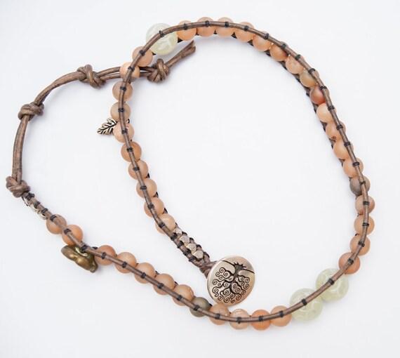 Flower Power Druzy Jade Double Wrap Bracelet