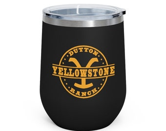 Yellowstone (TV Series) Dutton Ranch logo - 3 colors - 12oz Insulated Wine Beverage Hot Cold Tumbler - MEMI Apparel (free shipping!)