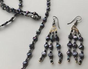 Handmade Gunmetal Necklace and Earrings Set, Handmade