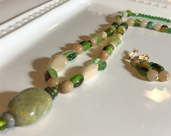Green and Cream Glass Bead Necklace and Earring Set - Handmade