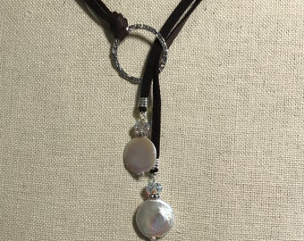 Leather Freshwater Pearl Sterling Silver Lariat, Pearl Lariat, Handmade, Swarovski Crystal Lariat, Necklace