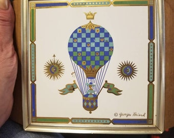 Hot plate with air ballon art design from the 60s