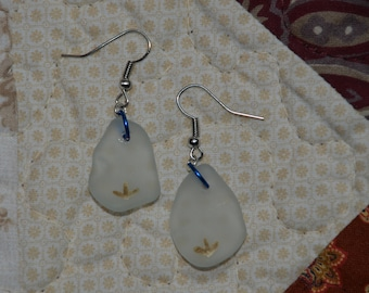 Handmade tumbled glass earrings with hand painted design