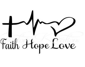 Faith_Hope_Love Cross Heart Beat   SVG File