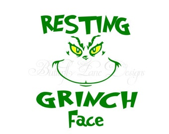 Resting grinch face svg etsy resting grinch face svg file only maxwellsz