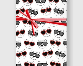 Cat Wrapping Paper, Funny cat, Digital Gift Wrap Sheet, Minimal Wrap, Wrapping Paper, Holiday Wrap, Printable Wrapping Paper, DIGITAL FILE
