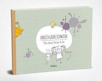 Gift for birth: Big Sister + Little Brother Sibling Book (Sibling Album, Photo Album, Memory Book, Eco, Recycled Paper)