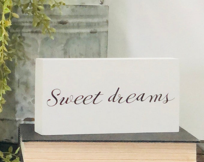SHIPS FREE!! Sweet dreams bedroom nursery decor sign | Our Chunky freestanding quote block signs make great affordable gift